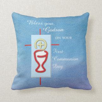 Godson, First Holy Communion, Blue Throw Pillow