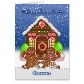 Godson Gingerbread House and Family Christmas Gree Greeting Card