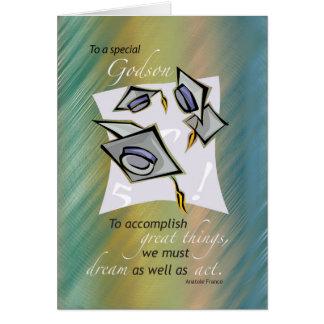 Godson, Graduation Hats in Air, Congratulations Gr Card