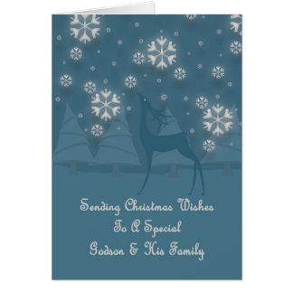 Godson & His Family Reindeer Christmas Card