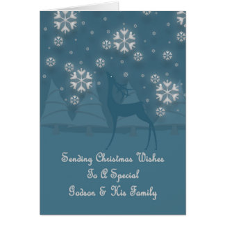 Godson & His Family Reindeer Christmas Greeting Card