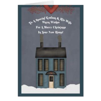 Godson & His Wife, 1st Christmas in New Home Card