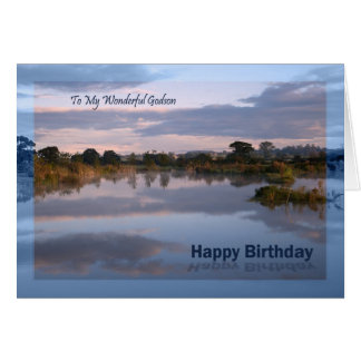 Godson, Lake at dawn Birthday card