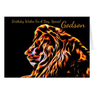 Godson Lion Fractal Birthday Greeting Card