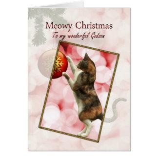 Godson, Meowy Christmas Card