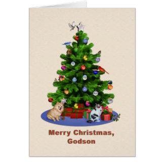 Godson, Merry Christmas Tree, Birds, Cat, Dog Card