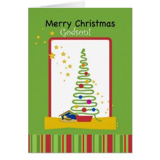 Godson, Merry Christmas with Stars, Tree & Creche Card