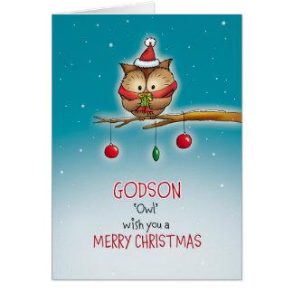 Godson, owl wish you a Merry Christmas Card