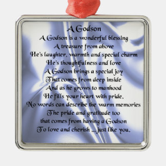 Godson poem - Blue Silk Design Metal Ornament