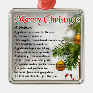 Godson poem - Christmas Design Metal Ornament