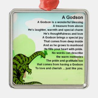 Godson poem - dinosaur design metal ornament