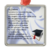 Godson poem - Graduation design Metal Ornament