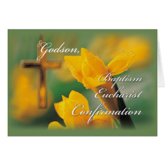 Godson RCIA Cross Crocus Congratulations Card