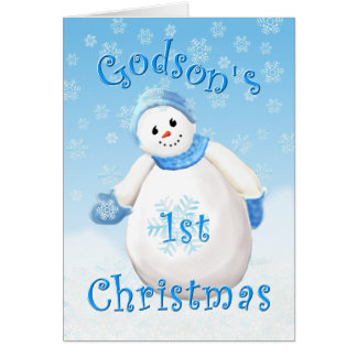 Godson s First Christmas Snowman Greeting Card