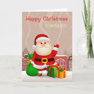 godson santa with sack and gifts christmas card