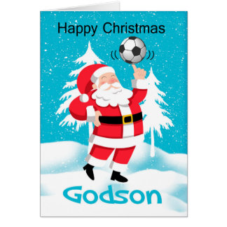 Godson Soccer / Football Christmas Greeting Card