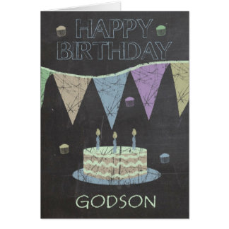 Godson Trendy Chalk Board Effect, Cake Greeting Card