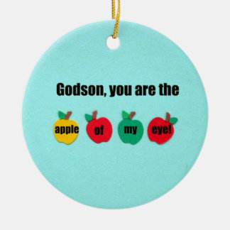Godson, you are the apple of my eye! Double-Sided ceramic round christmas ornament