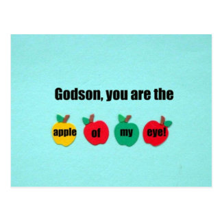 Godson, you are the apple of my eye! postcard