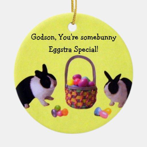 Godson, You're somebunny Eggstra Special! Christmas Tree Ornaments