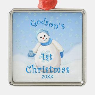 Godson's 1st Christmas Snowman Ornament