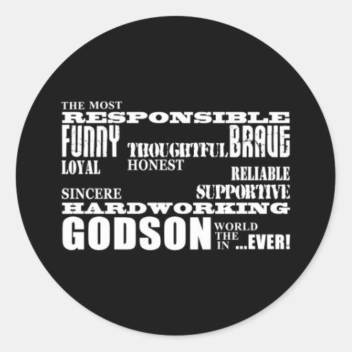 Godsons Baptism Christening Birthdays : Qualities Classic Round Sticker