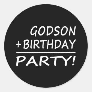 Godsons Birthdays : Godson + Birthday = Party Classic Round Sticker