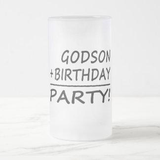 Godsons Birthdays : Godson + Birthday = Party Frosted Glass Beer Mug