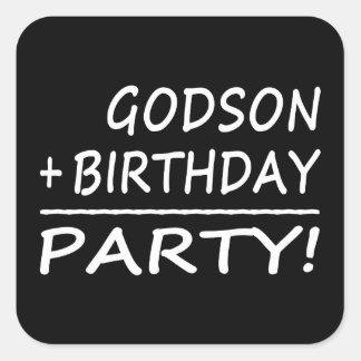 Godsons Birthdays : Godson + Birthday = Party Square Sticker