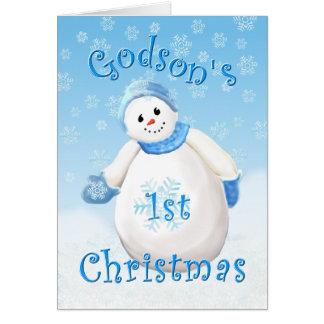 Godson's First Christmas Snowman Greeting Card