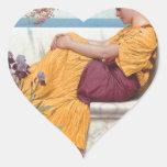 Godward - debajo del flor que cuelga en el Boug Pegatina De Corazón Personalizadas