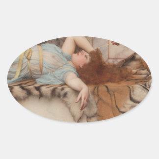 Godward - Mischief and Repose Oval Sticker