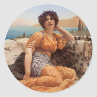 Godward - With Violets Wreathed and Robe of Saffro Classic Round Sticker