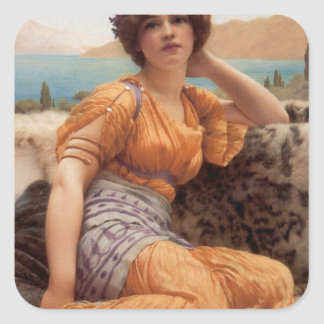 Godward - With Violets Wreathed and Robe of Saffro Square Sticker