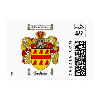 Godwin family crest in yellow and red postage stamp