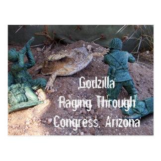 Godzilla Raging Through Congress Postcard