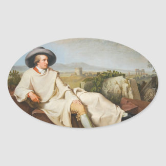 Goethe in the Roman Campagna by Tischbein 1787 Oval Sticker