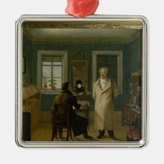 Goethe que dicta a su vendedor Juan, 1834 Adorno Navideño Cuadrado De Metal