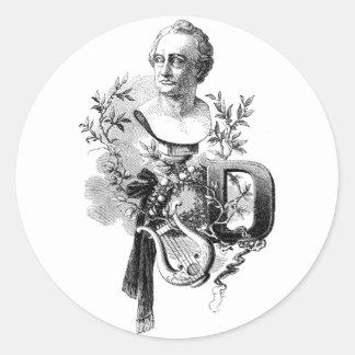 Goethe, un Lyre y la letra D Pegatina Redonda