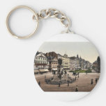 Goethe's Place and Goethe-Gutenburg Monument, Fran Basic Round Button Keychain