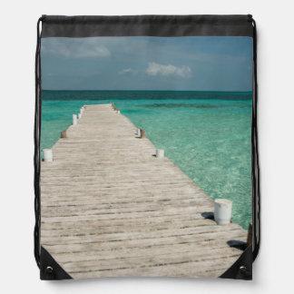 Goff Caye, a popular Barrier Reef Island Drawstring Bag