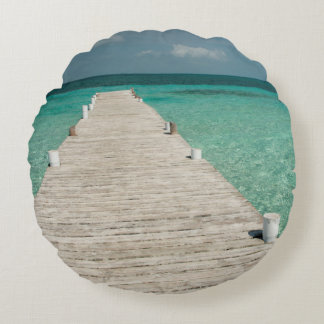 Goff Caye, a popular Barrier Reef Island Round Pillow