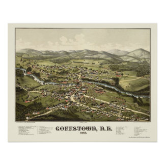 Goffstown, mapa panorámico del NH - 1887 Póster