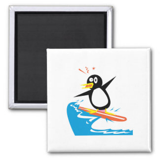 gofy surfing penguin 2 inch square magnet