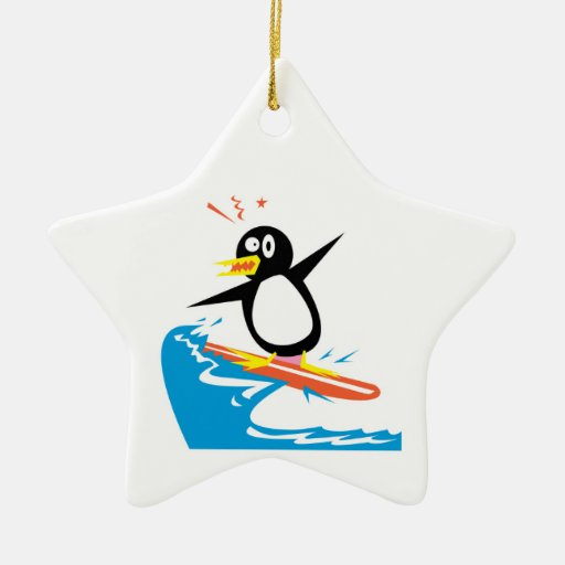 gofy surfing penguin ornaments