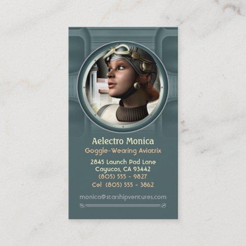 Goggled Aviatrix Business Cards