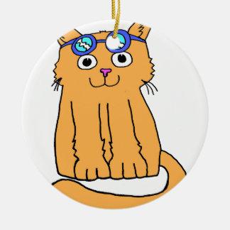 Goggles Cat Ceramic Ornament