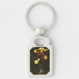 Gogh Carnations Zinnias Vase Blossoms Personalize Silver-Colored Rectangular Metal Keychain
