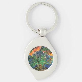 Gogh Fritillaries 1887 Vase Blossoms Personalize Silver-Colored Swirl Metal Keychain