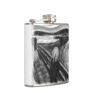 Gogh Mental Remake: The Scream by Edvard Munch Hip Flask